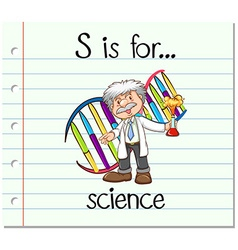 Flashcard letter S is for science vector image