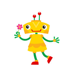 Flat cartoon small funny girl robot vector