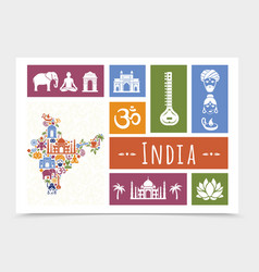 flat india travel composition vector image
