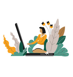 Freelancer sitting on laptop freelance or distant vector