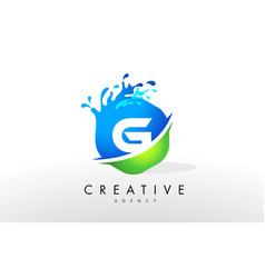 G letter logo blue green splash design vector