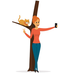 Girl posing and taking selfie with cat on tree vector