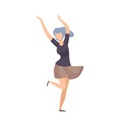 Girl with blue hair and in short skirt cheerfully vector