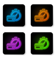 glowing neon fast payments icon isolated on white vector image