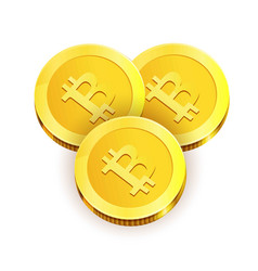 Gold shiny coins with engraved bitcoin sign vector