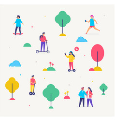 group people are walking transport gyroscooter vector image