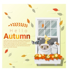 Hello autumn background with cats vector image