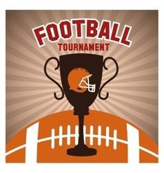 Helmet ball and trophy of american football design vector