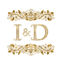 I and d vintage initials logo symbol the letters vector