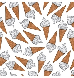 Ice cream in sugar waffle cones seamless pattern vector