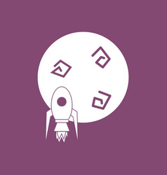 Icon space rocket and planet vector