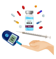 Insulin bottle pills for diabetes and device vector