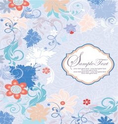 invitation card with floral background and place f vector image
