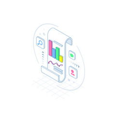 isometric business analysis and planning vector image