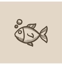 Little fish under water sketch icon vector