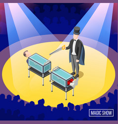 magic trick isometric background vector image