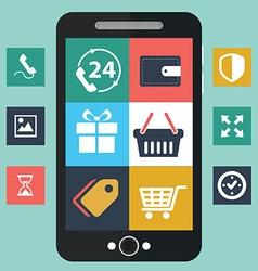 Mobile app development social network concept vector