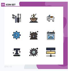 Modern set 9 filledline flat colors pictograph vector