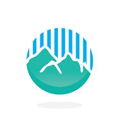 Mountain with blue line logo vector