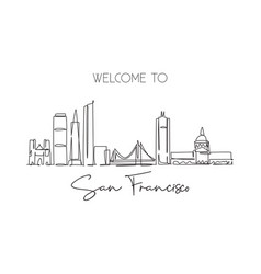 One continuous line drawing san francisco city vector