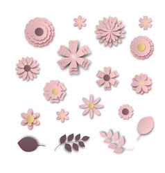 Paper art flowers set white scale pink abstract vector