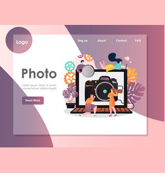 photo website landing page design template vector image