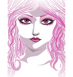 Pink girl face vector image