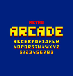 Pixel retro arcade game style 80s font vector