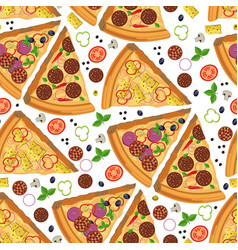 pizza slices with salami and vegetables seamless vector image
