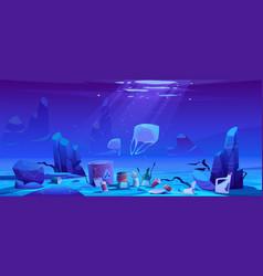 pollution sea plastic trash garbage underwater vector image