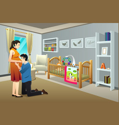 Pregnant woman with her husband in the nursery vector