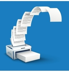 Printer printing copies of text vector image