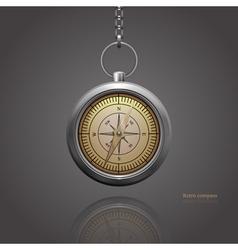 Retro silver compass vector