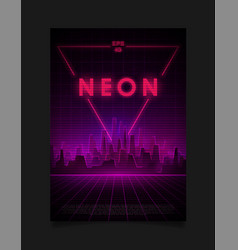 retrowave cityscape with laser grid glowing neon vector image
