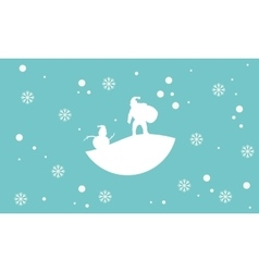 Scenery snowman and santa silhouettes vector image