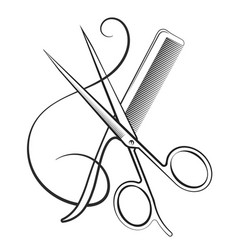 Scissors with a comb and curl hair vector