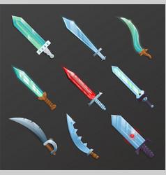 set cartoon medieval swords vector image