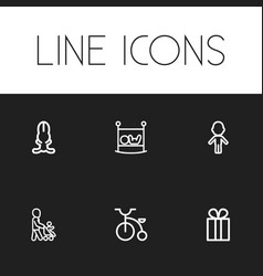 Set of 6 editable kin outline icons includes vector