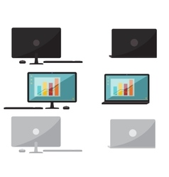 Set of flat design computer and laptop vector image