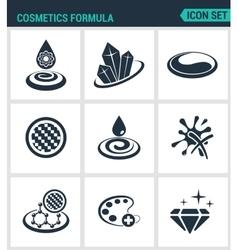 Set of modern icons Cosmetics formula vector