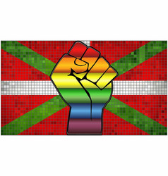 Shiny lgbt protest fist on a basque flag vector