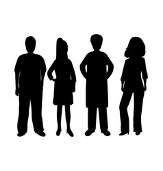 silhouettes women and men vector image