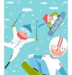 snowboarding and skiing funny free rider jump fun vector image