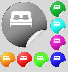 Sofa Icon sign Set of eight multi colored round vector image