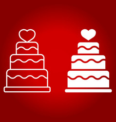 stacked love cake line and glyph icon vector image