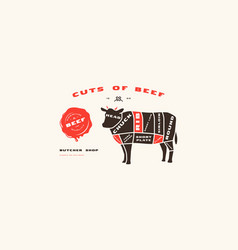 stock beef cuts diagram in flat style vector image