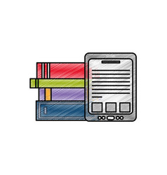 tablet and books design vector image