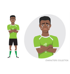 The black african american football player crossed vector