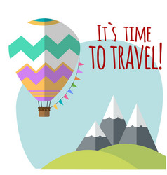Travel around the world balloon moutain background vector