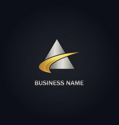 Triangle abstract loop gold logo vector
